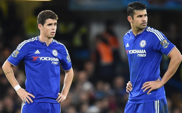 epa05081324 Chelsea Oscar (L) and Diego Costa (R) react after Watford scored during the English Premier League soccer match between Chelsea and Watford at Stamford Bridge in London, Britain, 26 December 2015. EPA/FACUNDO ARRIZABALAGA EDITORIAL USE ONLY. No use with unauthorized audio, video, data, fixture lists, club/league logos or 'live' services. Online in-match use limited to 75 images, no video emulation. No use in betting, games or single club/league/player publications