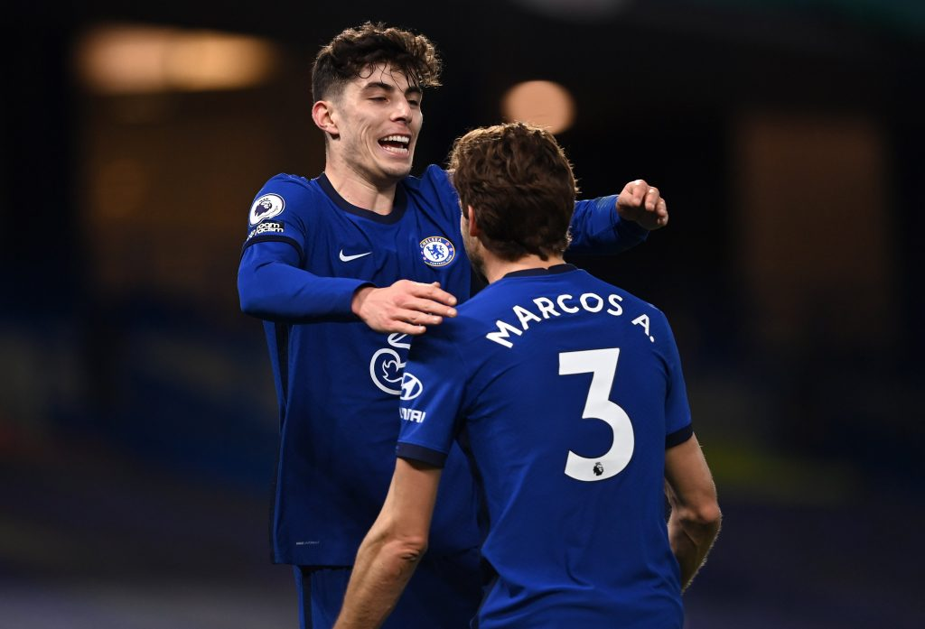 Havertz e Alonso comemoram gol do Chelsea